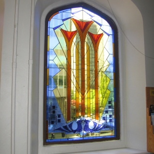 design by Mae Runions, construction by Alf Wiebe, installed at First Baptist Church, Vancouver B.C.